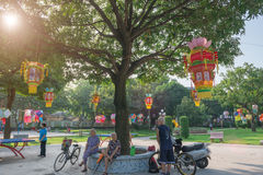 Lanterns hanging in a Park in the morning Royalty Free Stock Photo