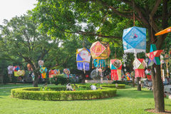 Lanterns hanging in a Park in the morning Royalty Free Stock Image