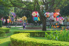 Lanterns hanging in a Park in the morning Stock Photo