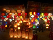 Lanterns in Hoian Vietnam. Colorful travel beautiful crafts art life Royalty Free Stock Photos