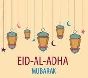 Lanterns for holiday. Colored vector illustration. Eid Al Adha Mubarak. Royalty Free Stock Photo