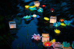 Lanterns of hopes, wishes and regrets. Asian festival of floating paper lanterns Stock Images