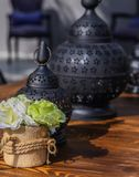 Lanterns. For candles on the table stock photography