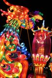 Phoenix Bird, Ohio Chinese Lantern Festival, Columbus, Ohio. Lanterns or light sculptures depicting a phoenix bird at the Ohio Chinese Lantern Festival at the royalty free stock photo