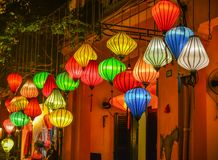 Lanterns lighted up on the streets royalty free stock photos