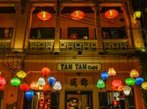 Lanterns lighted up on the streets stock photos