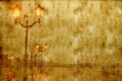Lanterns lit street, vintage style Royalty Free Stock Image