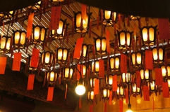 Lanterns at the Man Mo Temple Royalty Free Stock Photos