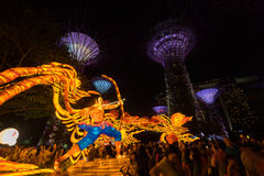 Lanterns at Mid Autumn festival in Singapore. Singapore, Singapore - September 11 2016 : Lanterns at Mid Autumn festival in Garden by The Bay, Singapore Royalty Free Stock Photography