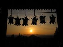 Lanterns of Nigatsu-do temple, with the background of golden sunset, Nara, Japan. Stock Photo