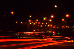 Lanterns of a night city. Road in the night city Stock Images