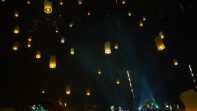 Lanterns night floating festival Loy Krathong Thailand