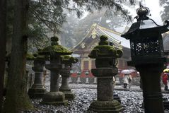 Lanterns in Nikko. The Temple complex in Nikko is declared the UNESCO heritage Stock Images