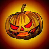 lanterns orange pumpkin head with a scary expression. Royalty Free Stock Photos