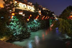 Lanterns and river Stock Images