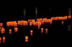 Lanterns on the river of Arashiyama, Kyoto Japan. stock photos