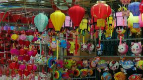 Lanterns for sell on street in Viet Nam stock video footage
