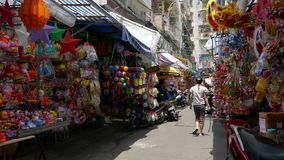 Lanterns for sell on street in Viet Nam stock footage