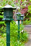 Lanterns in a Shinto Temple Royalty Free Stock Photos