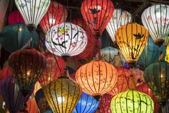 Lanterns in a shop in old town Hoi An. royalty free stock image