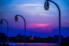 Lanterns of the sky. Sky shaded at sunset from a boat on the Mekong river , Phnom phen , Cambodia Royalty Free Stock Image