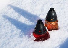 Lanterns in the snow Royalty Free Stock Image
