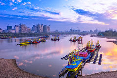 Lanterns on the Songhua River Stock Photography