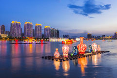 Lanterns on the Songhua River in Jilin. Lanterns on the Songhua River in Jilin, City, scenery Royalty Free Stock Photos