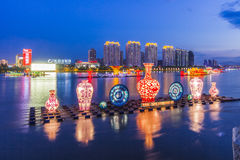 Lanterns on the Songhua River in Jilin. Eastphoto, tukuchina, Lanterns on the Songhua River in Jilin, City, scenery Stock Photo