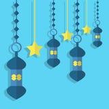 Lanterns and stars hanging vektor design