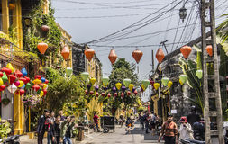Lanterns, temple,torists Royalty Free Stock Photography