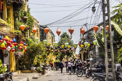 Lanterns, temple,torists Royalty Free Stock Photo
