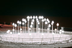 Lanters in Snowy winter city park. Night. Gomel, Belarus Royalty Free Stock Images