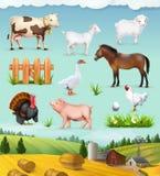 Lantgård, djur och fåglar stock illustrationer