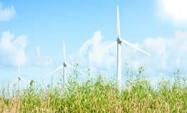 Lantgård för Windturbiner Arkivfoto