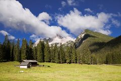 Lantgård i Dolomites Arkivbild