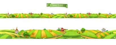 Lantgård Landskap sömlös panorama, vektorillustration vektor illustrationer