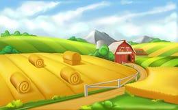 Lantgård Landskappanorama, vektorillustration vektor illustrationer