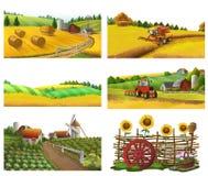 Lantgård lantligt landskap, vektoruppsättning royaltyfri illustrationer