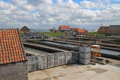 Lantgård Nederländerna för Yerseke ostronfiske Arkivfoton