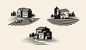 Lantgård och att bruka symbolen eller logo Jordbruks- bransch, viniculture, vingårdetikettuppsättning också vektor för coreldrawi Arkivbild