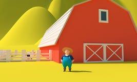 Lantgård och bonde framförande 3d royaltyfri illustrationer