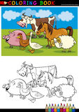 Lantgård- och boskapdjur för färgläggning Arkivfoto