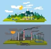 Lantgård och fabrik royaltyfri illustrationer