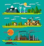 Lantgård och fabrik vektor illustrationer