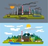 Lantgård och fabrik Royaltyfria Bilder
