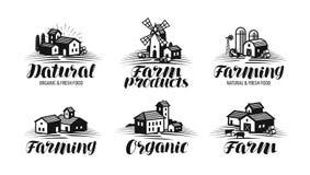 Lantgård som brukar etikettuppsättningen Jordbruk, agribusiness, byggande symbol eller logo Bokstävervektorillustration Arkivfoton