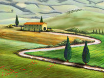 lantgård tuscany royaltyfri illustrationer