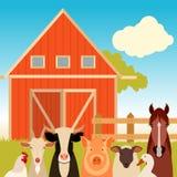 Lantgårdbaner med djur Royaltyfria Bilder