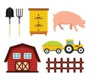 Lantgårdbeståndsdelar i tecknad filmlägenhetstil Arkivbilder